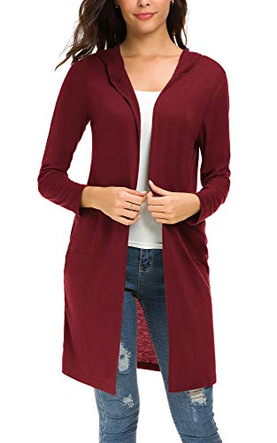 Urban CoCo Women's Classic Open Front Lightweight Long Hooded Cardigan (XL, Wine Red)