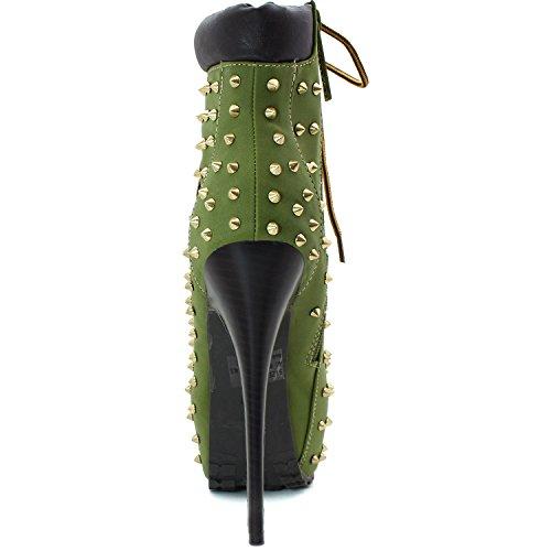Para Mujer Arriba Plataforma Exótica Botines De Tobillo Color Militar Verde