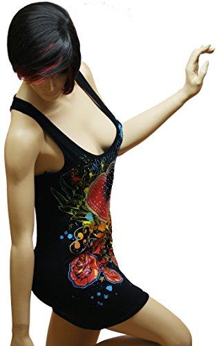 Damen Frauen Long Tank Top - Lasercut Tanktops - Laser Cut Long T-Shirt - Laser schnitt - Gothic Tops - Basis Longtops