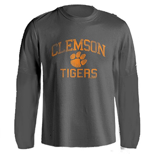 Clemson University Tigers Distressed Retro Logo Tiger Paw Ash Heather Long Sleeve T-Shirt (Charcoal, XL)