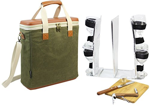 EVA Molded 3 Bottle Wax Canvas Wine Cooler Bag / Insulated Wine Carrier for Travel / Champagne Carrying Tote / Wine & Cheese Set with 4 Glasses, Wine Opener & Stopper, Bamboo Cheese Board and (Wine Bottle Cheese Board)
