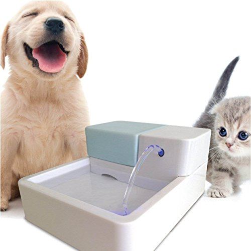 TOPCHANCES 12V 1.8L Capacity Sterilization Automatic Pet Water Fountain Pet Waterer Safe Drinking Filter Bowl for Pet Dogs Cats (LED - Uv Logo New