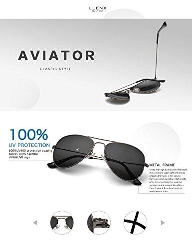 LUENX Homme Lunettes de Soleil Aviator Polarisé avec Étui - UV 400 Protection No Miroir Marron Lunettes monture 60mm 57UQJTsA