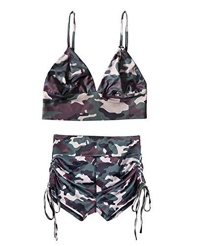 Women's Camo Crop Cami Top & Shorts Set Outfits Tracksuit
