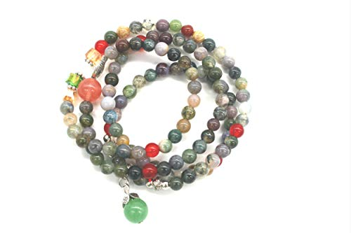 AMBY Buddhist Prayer Beads • Tibetan Mala Necklace • 6mm Healing Stones Bracelet • Chakra Jewelry for Meditation • Natural Quartz Crystal Wrap Bracelet Necklace (Mixed color)