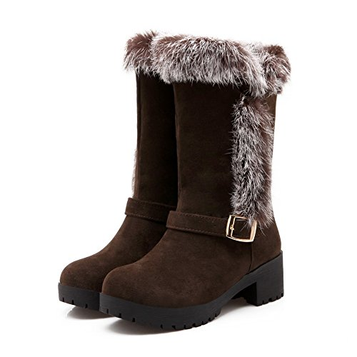 Buckle Ornament Brown Heels Chunky Fur Boots Frosted Girls 1TO9 6zwTqOx