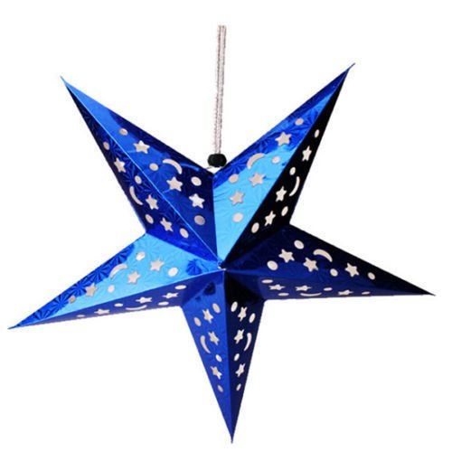 Xmas String Hanging Star Christmas Party Decoration Tree Ornament LED Light (Blue)