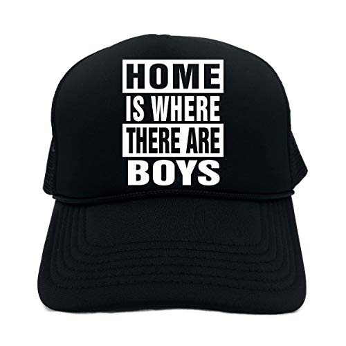 Funny Trucker Hat (Home is Where There are Boys (Sleep) Unisex Adult Foam - Boys Hat Signature