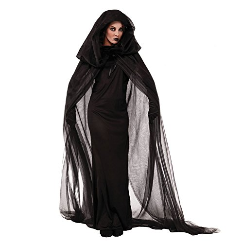 Women Halloween Black Ghost Bride Dress Witch Vampire Uniform Shawl Gloves Fancy Costumes Cosplay Party Decoration Set XL ()