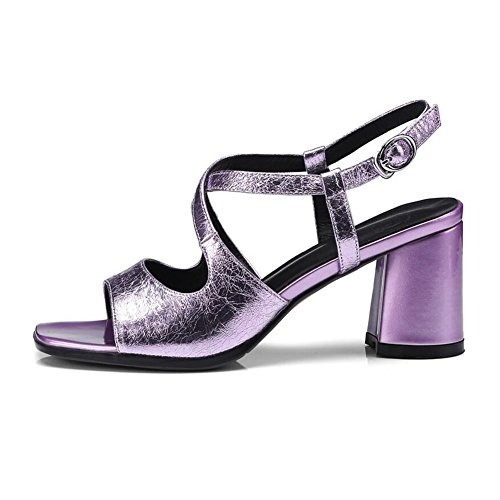 Sandals CJC Women's High Heel Open Toe Wedding Bridal Bridesmaid Party Dating Prom Shoes (Color : Purple, Size : EU36/UK4) Purple