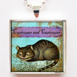 Alice in Wonderland Cheshire Cat Glass Tile Pendant Necklace with Chain
