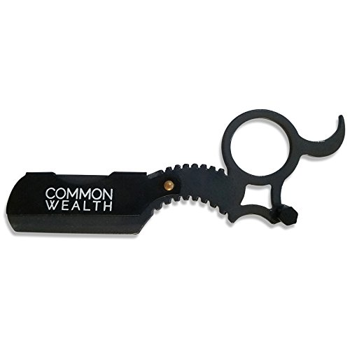 Common Wealth Professional Finger Insert Handle Barber Straight Edge Shaving Razor Graphite Grey & Black (Handle Shaving Razor)