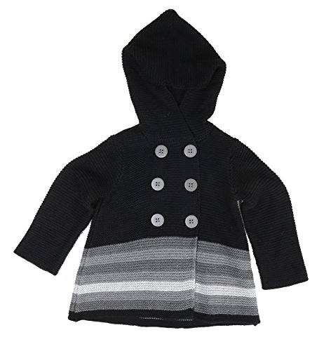 First Impressions Sweater - First Impressions Baby Girls Double-Breasted Striped Hooded Sweater (12 Months 28-30 22-25lbs)