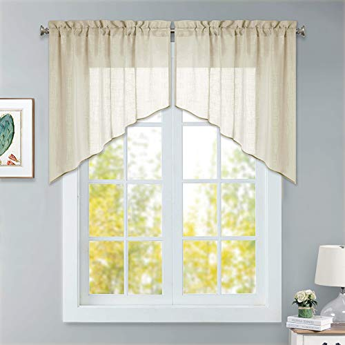 (RYB HOME Semi Sheer Curtains Valances and Swags, Dual Rod Pockets Causal Wave Voile Tiers for Kitchen Window/Living Room/Cafe, Warm Beige, 36 x 36 inch per Panel, Set of 2)
