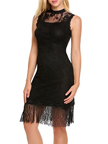 Zeagoo Women's O-Neck Sleeveless Lace Patchwork Fringe Slim Pencil Midi Dress,Black,Large