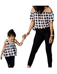 FOYUN Parent-Child Shirt Matching Outfits Mother Daughter Off-Shoulder Checked Tops
