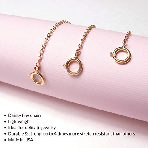 Benique 14K Gold Filled Choker Necklace Bracelet Extender - Fine Thin Chain, Durable Strong Removable, Made in USA, Gold/Rose Gold (14K Gold Filled/Set 2'', 3'', 4'') by Benique (Image #1)
