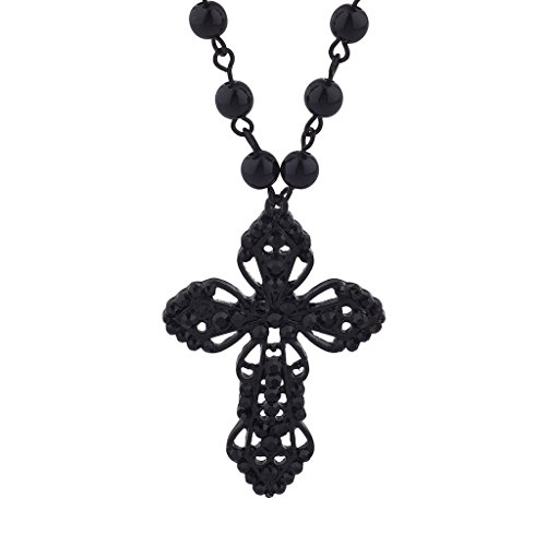 Lux Accessories Classic 80s Gothic Black Rosary Cross Beaded Pendant Necklace (Necklace Accessories Womens)