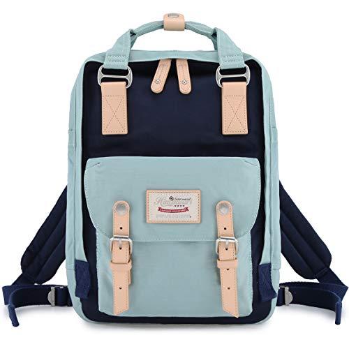 Himawari School Waterproof Backpack 14.9 College Vintage Travel Bag for Women,14 inch Laptop for Student (Light blue&Dark blue)