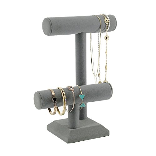 - 7TH VELVET 2 Tiers Grey Velvet Jewelry Tower Bracelet Holder Jewelry Display Stand Thin Rod Desktop Jewelry Organizer T-Bar Bracelet Necklace Jewelry Display Stand for Home Organization