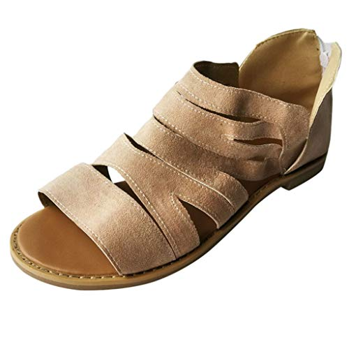 - YKARITIANNA Summer Women's Sandals Shallow Shoes Platform Round Toe Retro Casual Shoes Beige