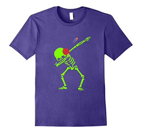 Ping Pong Costume (Mens Dabbing Neon skeleton Hip Hop Ping Pong Tshirt Small Purple)