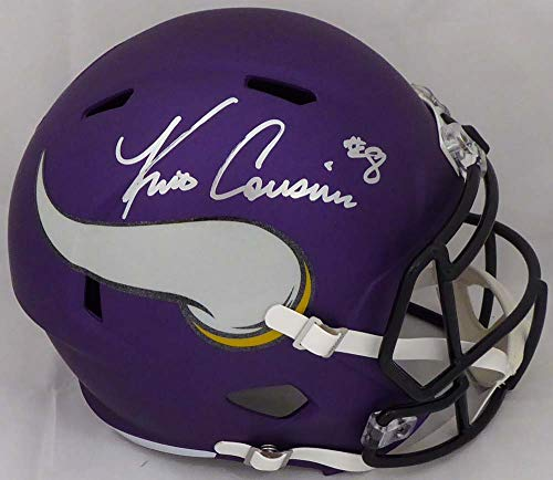 (Kirk Cousins Autographed Minnesota Vikings Matte Purple Full Size Speed Replica Helmet Beckett BAS Stock #147966)