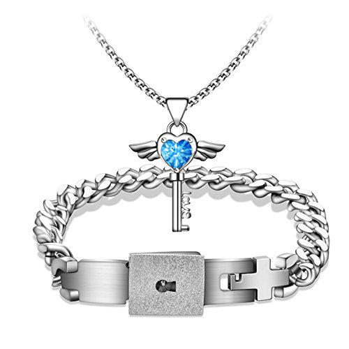 A lifetime Lovers Heart Lock Bracelet Couple Angel Wings Key Pendant Necklace Jewelry Set Valentine's Day present(20CM Blue)