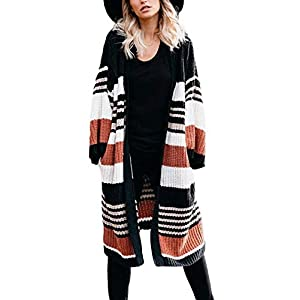 Womens Striped Color Block Cardigans Cable Knit Chunky Sweaters Oversized Tops with Pockets