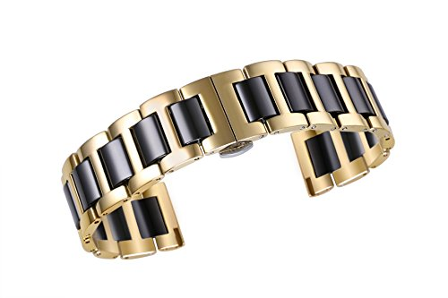 - 20mm Deluxe Stainless Ceramic Link Replacement Watch Belt Bracelet INOX Steel in Two Tone Gold and Black