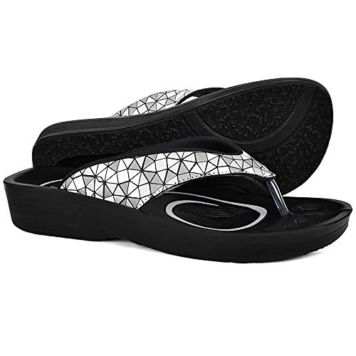 AEROTHOTIC Original Orthotic Comfort Thong Style Flip Flops Sandals for Women with Arch Support for Comfortable Walk (US-Women-11, Prisma Black)