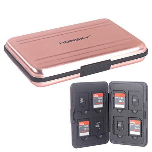 SD Card Case, Aluminum Memory Card Holder, Memory Card Case Organizer Storage for SD Cards, Micro SD Cards, SDHC SDXC TF UHS-I,Rose Gold ()