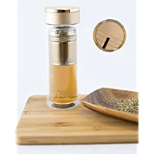 iRSE Luxury Tea Infuser Bottle Double Wall Glass Tumbler with Bamboo Lid Fruit Water infuse Stainless Steel Loose Leaf Strainer hot cold drink filter fruits herbs spices detox 10 oz (Gold) by iRSE