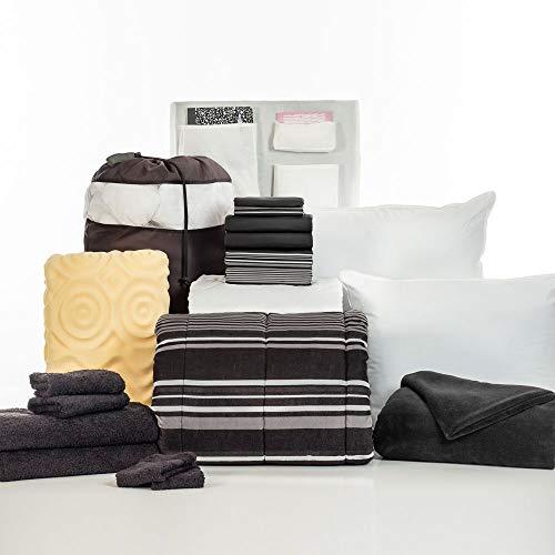 OCM 20 Piece Comfort Pak Black Easton Twin XL College Dorm Bedding and Bath Set