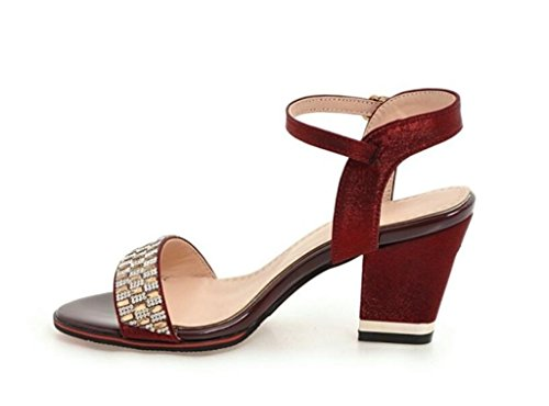 32 Beige xie 41 Strass Sandales Femme Red Noir Élégant Shopping 36 Daily Rouge Violet 7cm Glissement 8q8a7wOp