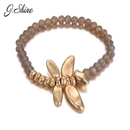 Cute Dragonfly Bracelets for Women | Crystal Gold Charm Pendant Bracelet & Bangle | Strand Bracelet