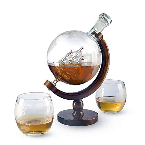 World Decanter With 2 Glasses - Whiskey Globe Decanter - The Wine Savant For Scotch, Spirits, Wine Or Vodka with Antique Ship, Gift for Men (1000ML) by The Wine Savant