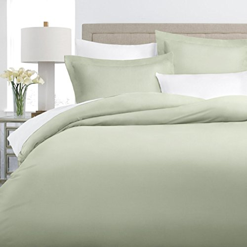 Italian Luxury 100% Long-Staple Combed Cotton Duvet Cover Set - Hypoallergenic Duvet Cover with Zippered Closure and Matching Shams - King/Cal King - Sage