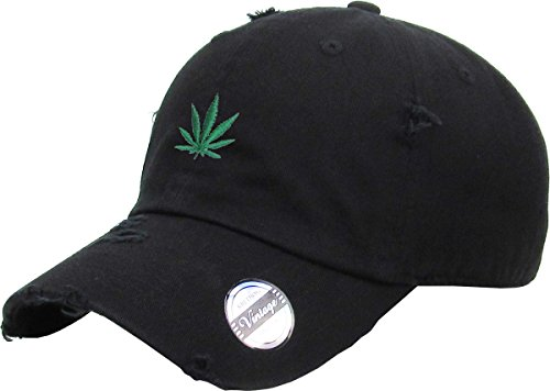 kbsv-066-blk-marijuana-leaf-vintage-distressed-dad-hat-baseball-cap-adjustable