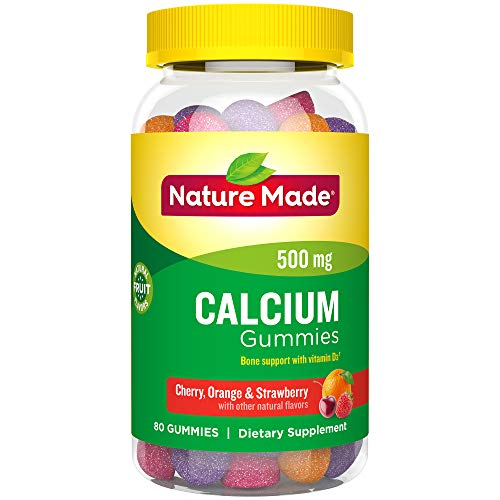 Calcium Gummy - Nature Made Calcium 500 mg Gummies, 80 Count for Bone Health† (Packaging May Vary)