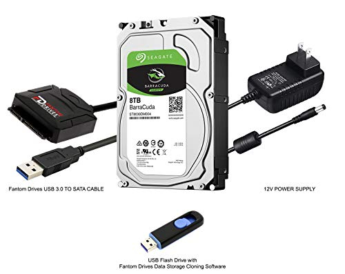 Fantom Drives 8TB Hard Drive Upgrade Kit with Seagate Barracuda ST8000DM004 for PC and External HDD, Fantom Drives SATA to USB 3.0 Converter and Fantom Drives Cloning Software Inside USB Flash Drive