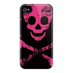 High Grade Trolford Flexible Tpu Case For Iphone 4/4s - Pink Skull