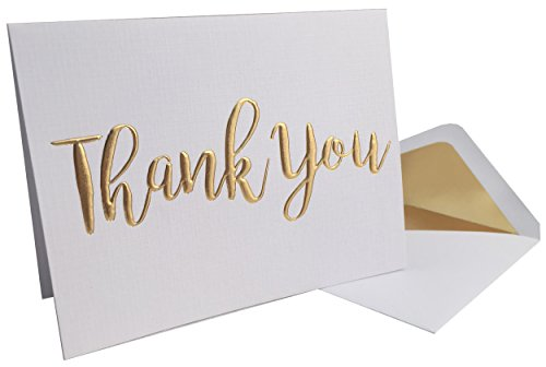 Thank You Cards - 20 Pack - Gold Foil