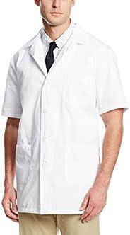 Worklon 3409 Polyester/Cotton Unisex Short Sleeve Pharmacy Lab Coat with Button Closure, Large, White