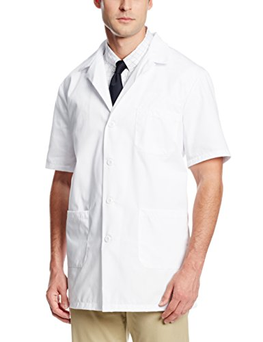 Worklon 3409 Polyester/Cotton Unisex Short Sleeve Pharmacy Lab Coat with Button Closure, Large, White