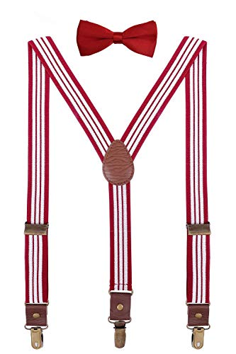 (ORSKY Teen Boys' Suspenders and Bow Tie Adjustable with Copper Clips 40