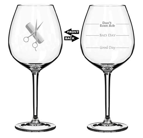 20 oz Jumbo Wine Glass Funny Two Sided Good Day Bad Day Don't Even Ask Hairdresser Stylist Scissors Comb
