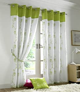 Tahiti Green Curtains Eyelet Lined Voile Inch X Inch Fabric
