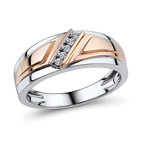 Mens Diamond Ring 10k Rose Gold and Rhodium Plated 10k White Gold 1/10 cttw