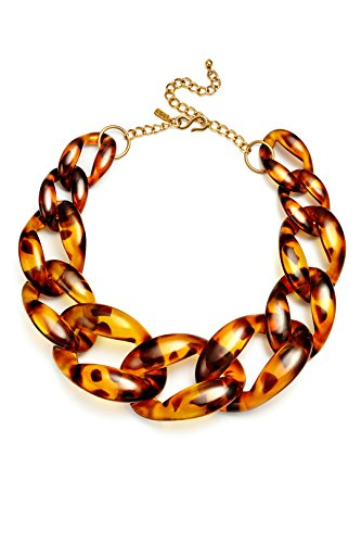 Kenneth Jay Lane Chain Necklace Tortoiseshell Chunky Resin Chain Jewelry Costume Tortoise Shell Graduated Links 16